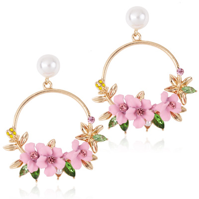2019 NEW <font><b>Trendy</b></font> <font><b>Cute</b></font> <font><b>Pink</b></font> Purple <font><b>Flower</b></font> <font><b>Earrings</b></font> <font><b>For</b></font> <font><b>Women</b></font> Girl Simple Drop Jewelry Female Gold Metal Round Circle Brincos E26 image