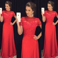 Red Long Modest Prom Dresses Short Sleeves Beaded A line Formal Evening Wear Sleeves Slimming Chiffon Summer Teens Prom Gowns