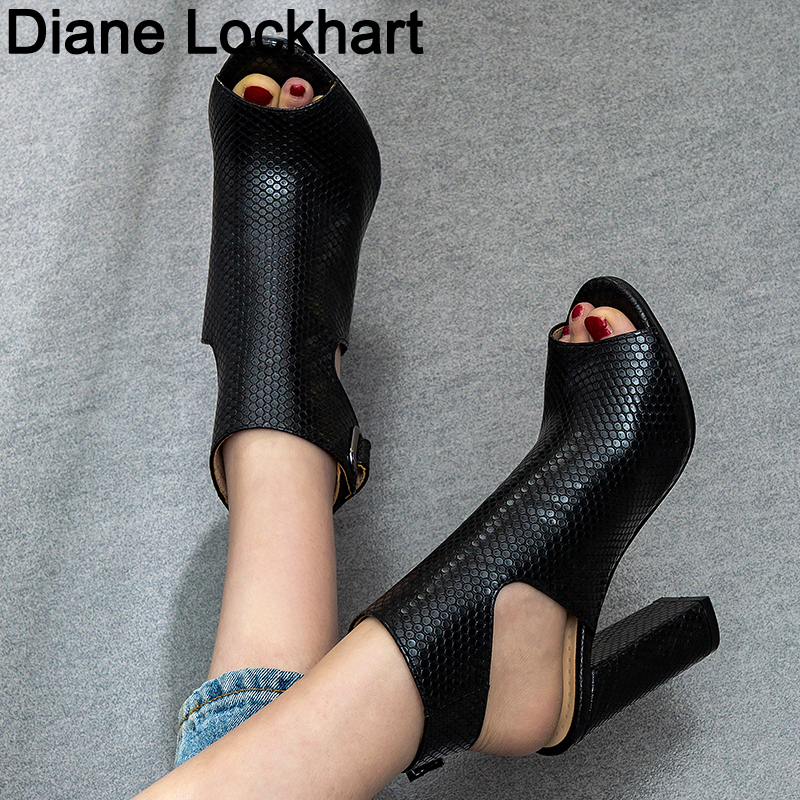Women Snake Printing Sandals Gladiator High Heels Ankle Strap Boots Women Fashion Summer Ladies Shoes Black Size 34 41 42 43