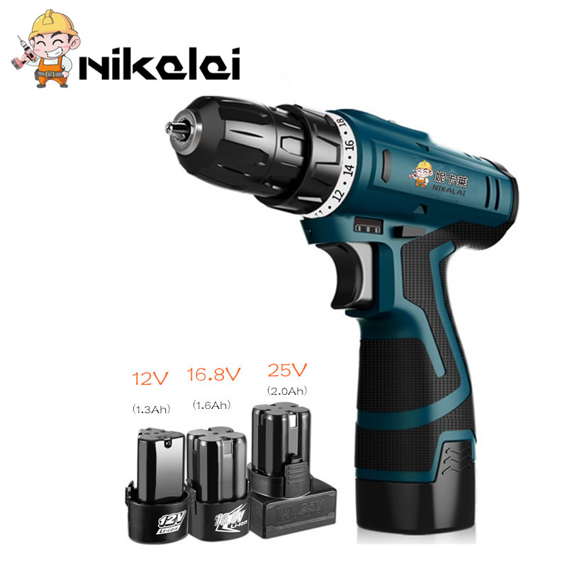 12v 16.8v 25v 2speed Electric Screwdriver Additional Lithium Battery Plastic Box Cordless Electric Drill Hole Screws Power Tools