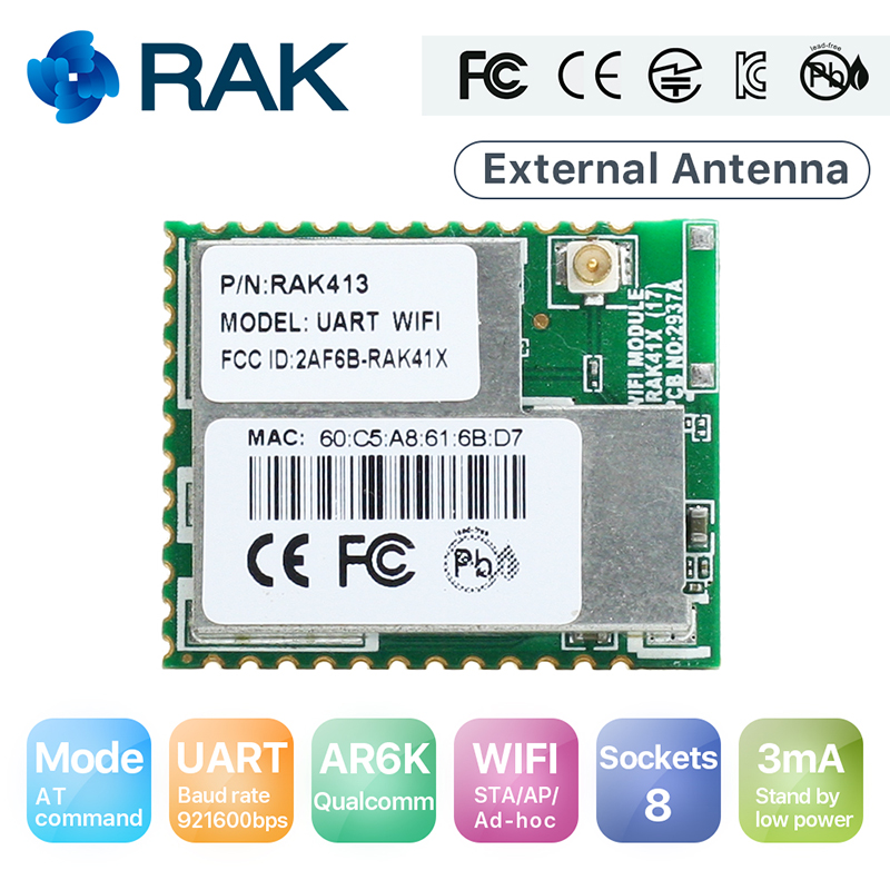 RAK413 8 Sockets UART to WiFi Module Low Power Serial TCP UDP IoT Module Industrial Integrated TCP/IP STA/AP Mode Q151 rak475mb low power tiny size uart serial to wifi industrial module wireless iot module ap sta mode telec ce fcc kcc certify q115