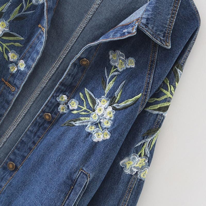 Blue Jeans Denim Hiver Lâche Uwback Longues Pb009 Polyester Automne Vestes Manteau Floral Col Broderie Veste Occasionnel Femmes Manches Zq5Sw1xT5