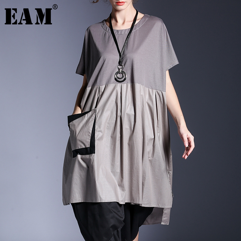 [EAM] 2018 New Summer Fashion Tide Gray O-neck Short Patchwork Hit Color Pockets Sashes Irregular Woman Dress SA132