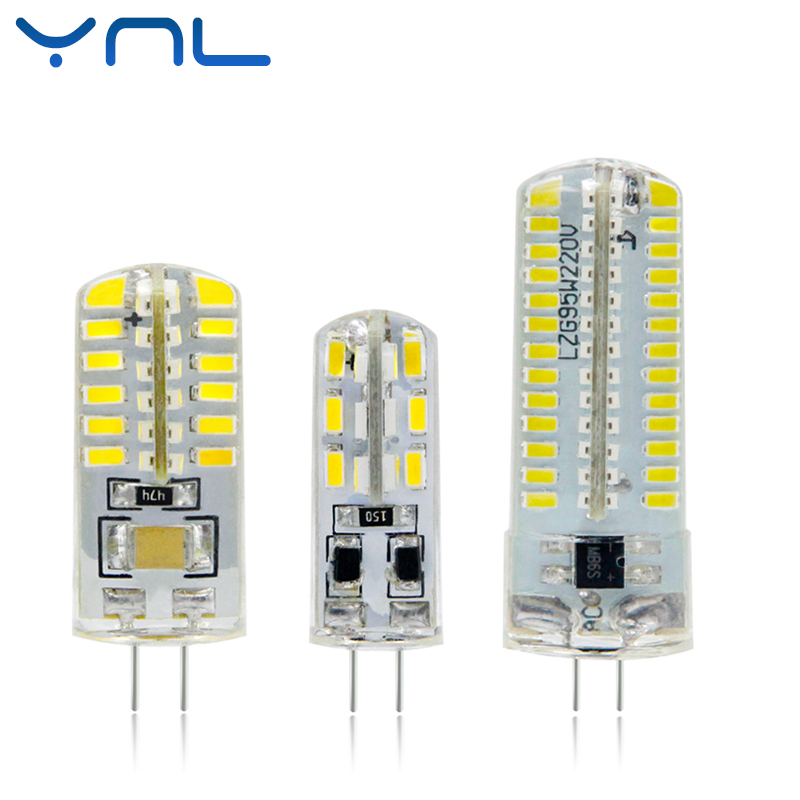 YNL LED G4 Lamp 220V 3W 4W 5W DC 12V Lampada G4 LED bulb SMD3014 2835 24 48 64 104L Replace 10w 30w Halogen Light 360 Beam Angle g4 led bulb smd 2835 3014 g4 led lamp 3w 4w 5w 6w 7w 10w led light ac dc 12v 220v 360 beam angle replace chandelier halogen lamp
