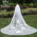 Cheap White Ivory Rose Petals Long Bridal Veils 2017 Simple Elegant Bride Cathedral Wedding Veil With Combs Velo De Novia WB25