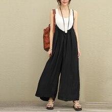 Women Overalls Wide Leg Pants Vocation Dungarees Casual Cotton Linen Jumpsuits MT
