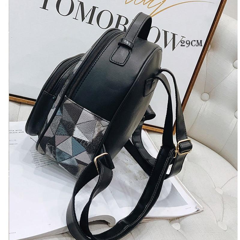 Girls Casual Backpack PU Geometric Design Backpacks Vintage Side Rivets Stud School Bag Lady Women Grey Frosted Leather Ruchsack 2
