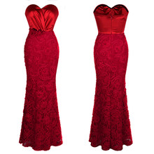 Angel-fashions Women's Formal Evening Dresses Ruched Pleated Flowers Lace Long Party Gown Red 383 mariage Robe(China)