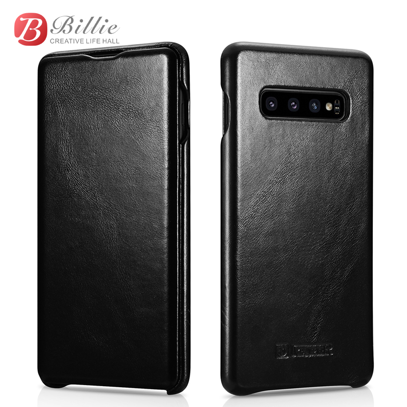 For Samsung Galaxy S10 Plus Flip Case Curved Edge Vintage Series Genuine Leather Magnetic Covers for Galaxy S10 Cell Phone Cases