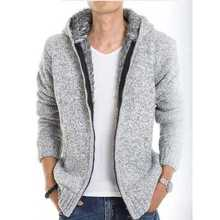 New Arrival Fashion Autumn Winter Hooded Collar Zippers Cotton Knitted Sweaters Thickening Plush Within Cardigan Men Coat H6518
