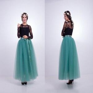 Image 3 - 7 Layers Maxi Long Women Skirts Ladies Tulle Skirt Ankle length Apparel Wedding Ball Gown Faldas Lotita Jupe Saia Longa