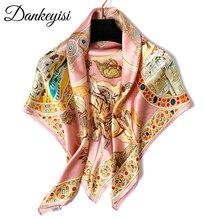 Dankeyisi designer lenço de seda das mulheres bandana hijab cachecol inverno grande toalha quadrada 100% de seda natural feminino foulard femme cachecóis