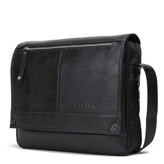 CROSS OX Сумка мужская через плечо Горизонтальная сумка для мужчин из искусственной кожи Сумка для подростков Сумка для Ipad Черная SL383