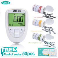 Cofoe 3 in1 Cholesterol & Uric acid & glucose Meter Household Portable Mini Multi Monitoring Meter with Test Strips&Lancets