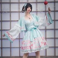 Japanese princess sweet lolita dress vintage lace bowknot cute printing victorian dress+haori kawaii girl two piece set loli cos