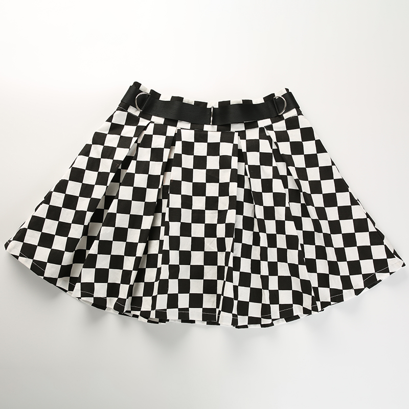 9Sweetown Korean Fashion Checkerboard Pleated Skirts Womens Sashes High Waist Zipper Cotton Short Skirt Woman Summer 2018 Skirts