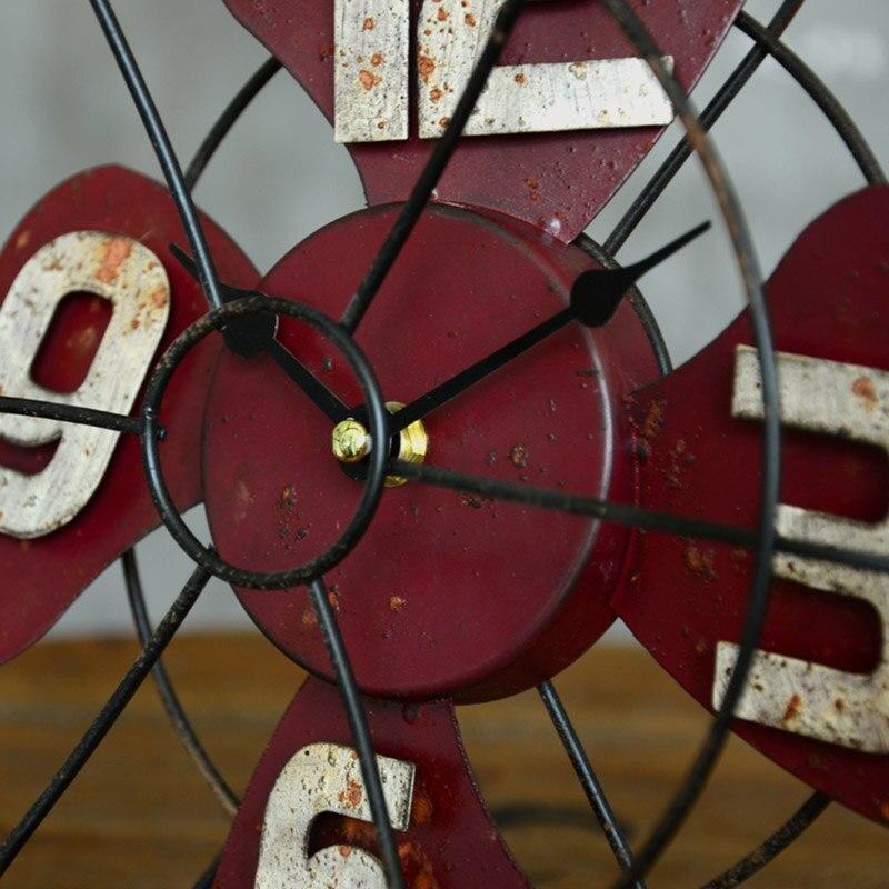 Américain rétro artisanat Vertical ventilateur modèle Bar bureau caractère horloge accessoires décoration maison cadeau accessoires 26*27*9 cm - 5