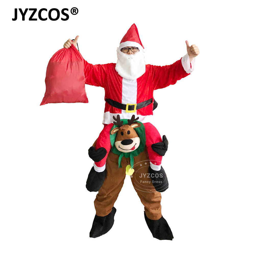 JYZCOS Adult Santa Claus Riding Deer Costume Christmas Costume Halloween Party Costume for Women Cosplay Costume Fancy Dress