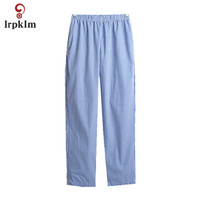 2018 New Spring Summer Men's Pants Cotton Home Pants Casual Loose Cotton Solid Color Pants Spring Home Pants Thin Section JW051