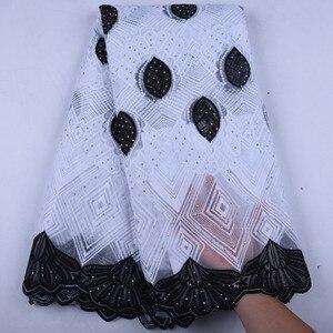 Image 2 - R Blauwe Afrikaanse Kant Stof 2019 Franse Koord Kant Stof Geborduurde Nigeriaanse Tulle Lace Stof Met Stenen Voor Bruiloft Y1570