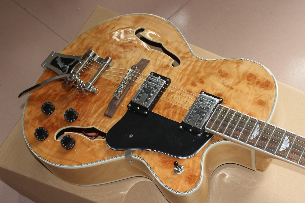 Custom Shop F hollow body jazz Electric guitar with Chrome hardware, Spalted+Flame Maple top,rosewood fingerboard guitarra