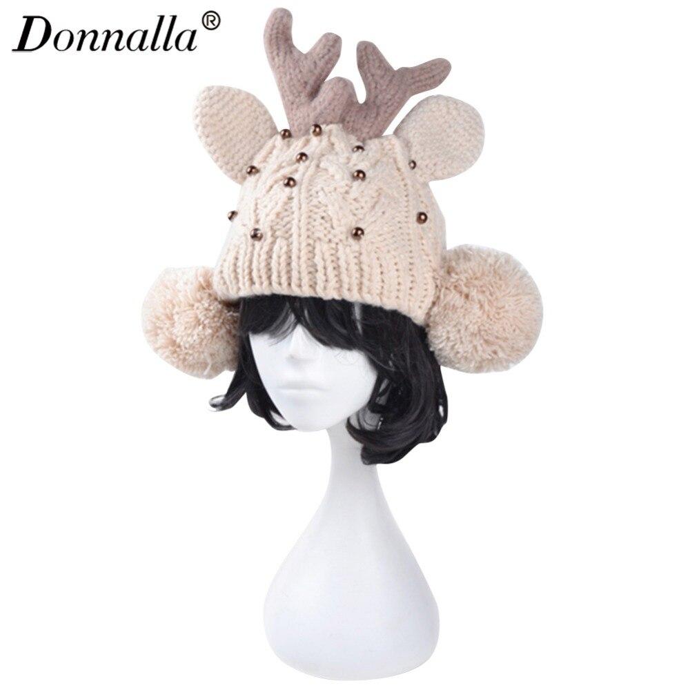 Donnalla Christmas Deer Antler Beanie Hats Bucket Beanies Cotton Knitting Caps Fall Winter Knitted Beanie Hat Cap For Women best quality supplement deer antler velvet extract 500g