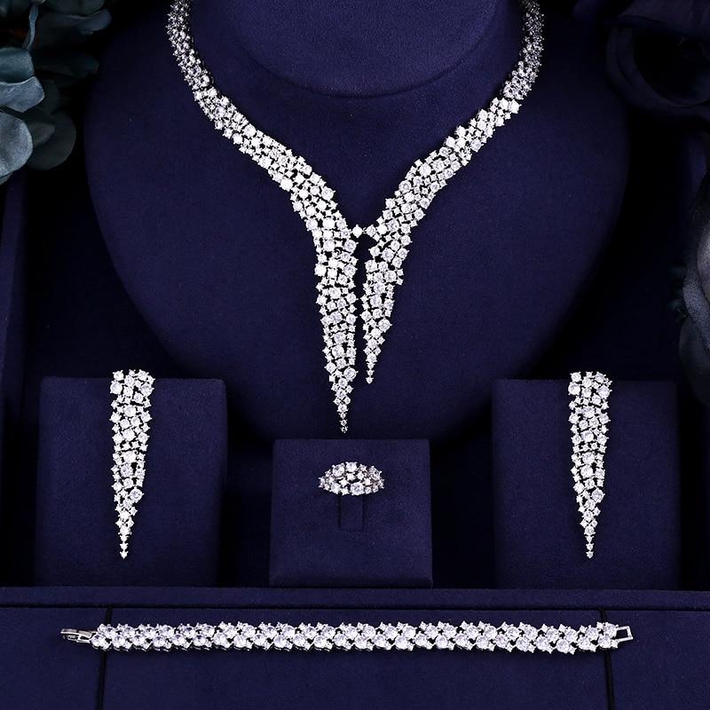 HTB1cBh5pCtYBeNjSspaq6yOOFXaf JaneKelly Gold-Color Luxury Sparking Brilliant Cubic Zircon Drop Earring Necklace Jewelry Sst Wedding Bridal jewelry sets