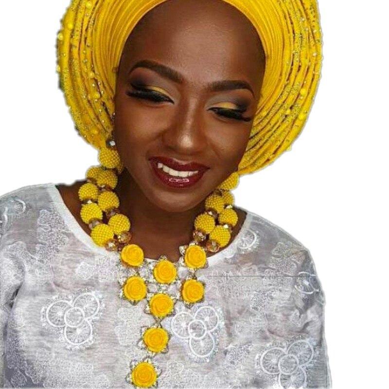 Ensembles de perles nigérianes glamour avec des fleurs de corail ensemble de bijoux fins de dubaï africain pour les femmes ensemble de boucles d'oreilles collier de mariée jaune