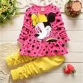 Novo 2015 Primavera Outono bebê conjunto de roupas meninas crianças arco roupas set crianças meninas dos desenhos animados camisa + calça terno 2 pcs