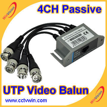 Free shipping UTP 4 Ch Passive Video Balun Transceive 4 Channel RJ45 CAT5 CCTV BNC Video Balun Transceiver Cable, cctv balun