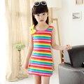 Hot Sale Brand Dresses for Girl Summer Casual Children Clothing Sleeveless Striped Baby Bow O-Neck Kids Vest Fashion Girls Dress