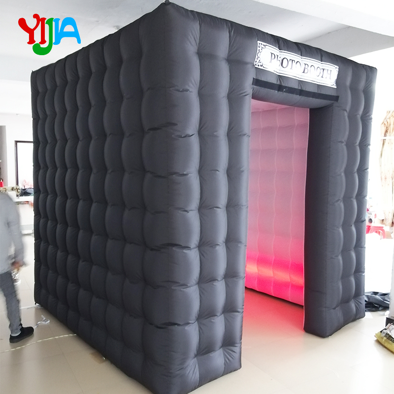One Door 2.5m Cube Inflatable Photo Booth  Backdrop with LED Strips Lights bottom  For Party ,Wedding  Promotion Events