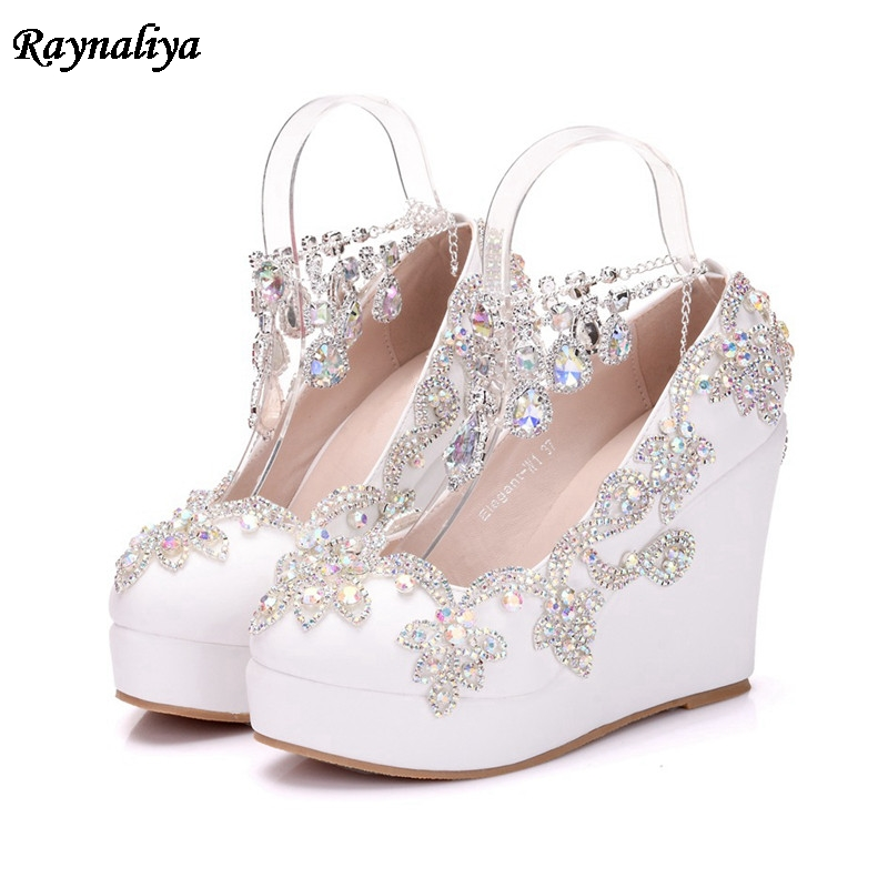 Detail Feedback Questions about Handmade Spring White Wedges Wedding Pumps Sweet  Rhinestone Flower Platform Shoes Slip On Bride Dress Shoes Plus Size XY ... 98d4184a7917