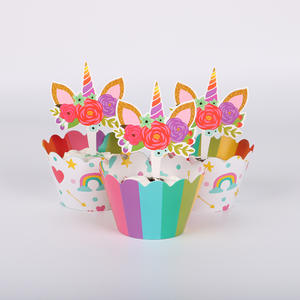 c48f5a5f07c0d7 QWWSS 24pcs Unicorn Cake Topper Kids Birthday Wedding