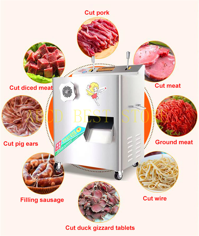 free air ship muti-function 2200w 400kg/hr commercial meat slicer meat mincer electric food shredding chopping grinding machine free ship new premium fast food equipment commercial package double grilled hamburger machine price