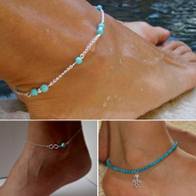 HOT Sexy Women Anklet Elastics Fatima Hand / Turquoise Beads / Bead Infinity Silver Chain Ankle Bracelet Foot Jewelry