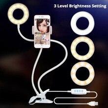 USB Ring Light Studio Selfie LED na Youtube uchwyt na telefon komórkowy stojak na żywo makijaż lampa na aparat iPhone Android LED Ring Light