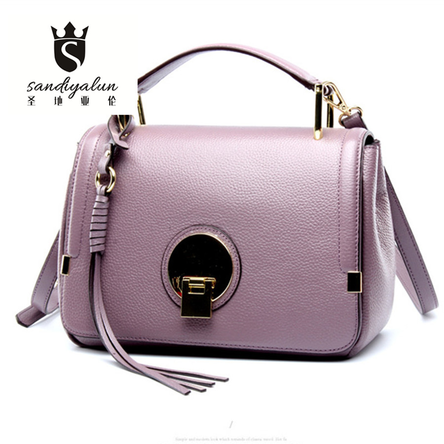 Fashion Women Messenger Bags Elegant Handbags Ladies Tassel Shoulder Bag Genuine Leather Ladies Lock Crossbody Small Square Bags cute fashion women bag ladies leather messenger shoulder bags women s handbags