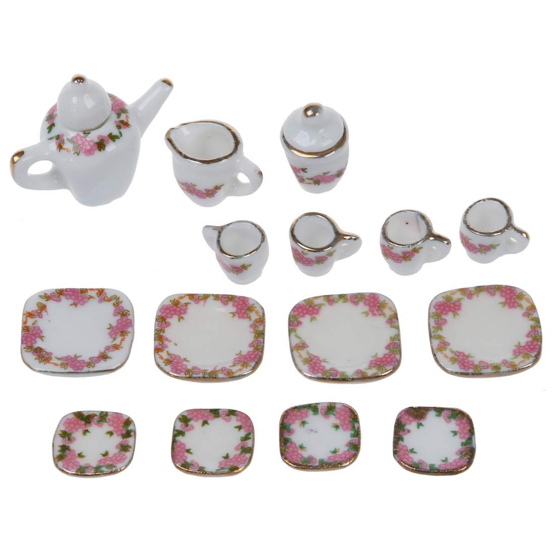 Pretend Play Honest Set Of 15pcs 1/12 Dollhouse Miniature Dining Ware Porcelain Tea Set Pot+dish+cup+saucer