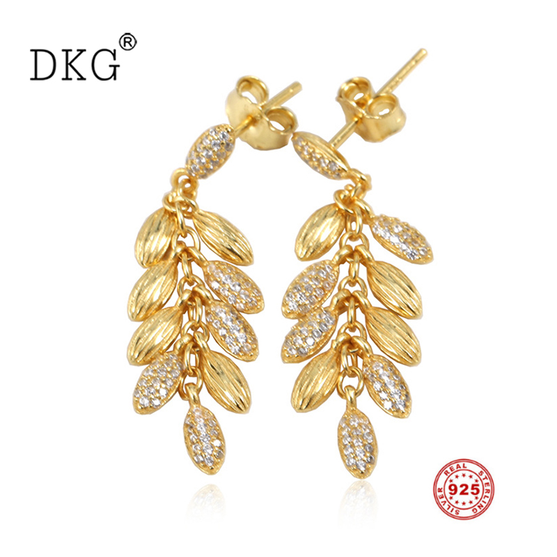 2018 Autumn New Authentic 925 Sterling Silver Paddy Earrings with Gold Shine Ears of Wheat Crystal Women Gift Charm DIY Jewelry system of wheat intensification swi new trend of wheat cultivation
