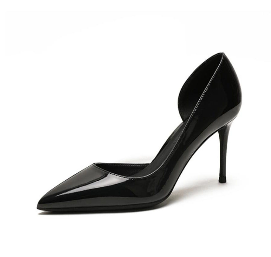 2019 new designer black patent pointed toe D Orsay oepn one side women lady 8cm 100mm