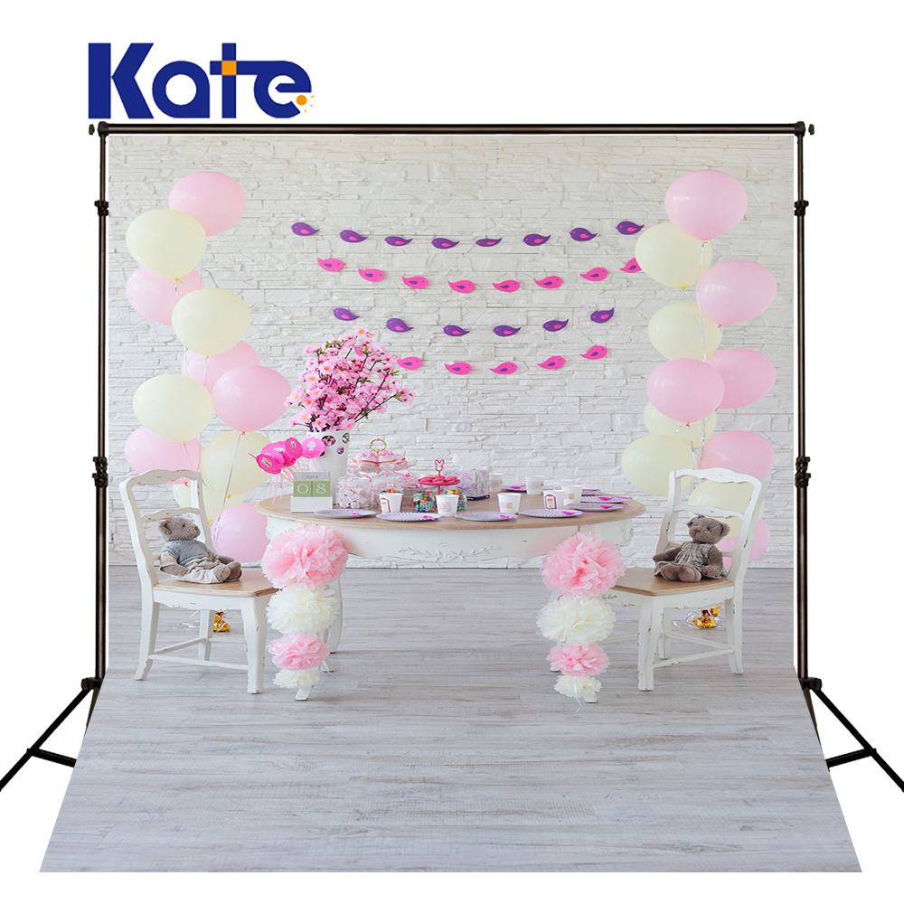 KATE Photography Backdrop Birthday Background Newborn Backdrop Pink Balloom Backdrops White Brick Wall and Wood Floor Backdrops