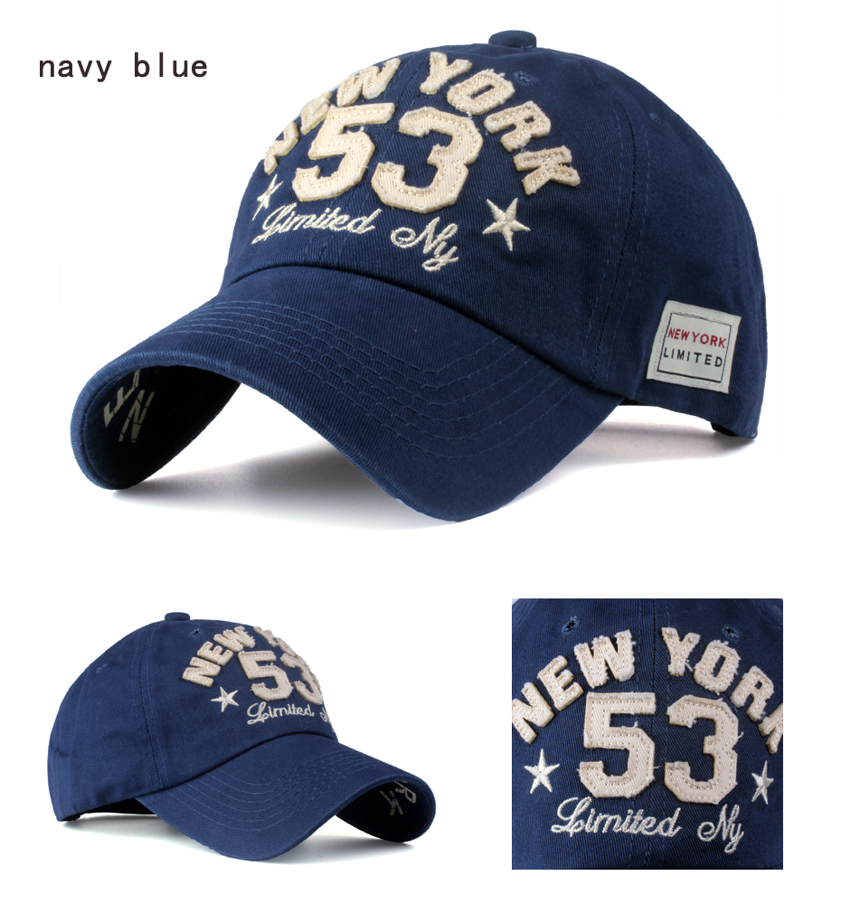 Old Style New York Lettering Pre-washed Denim Baseball Cap - Navy Blue Cap Detail Views