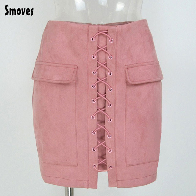 Smoves Women's Vintage High Waist External Pocket Tight Suede Lace Up Skirt Autumn Winter Thick Pencil Skirt Preppy Mini Skirt