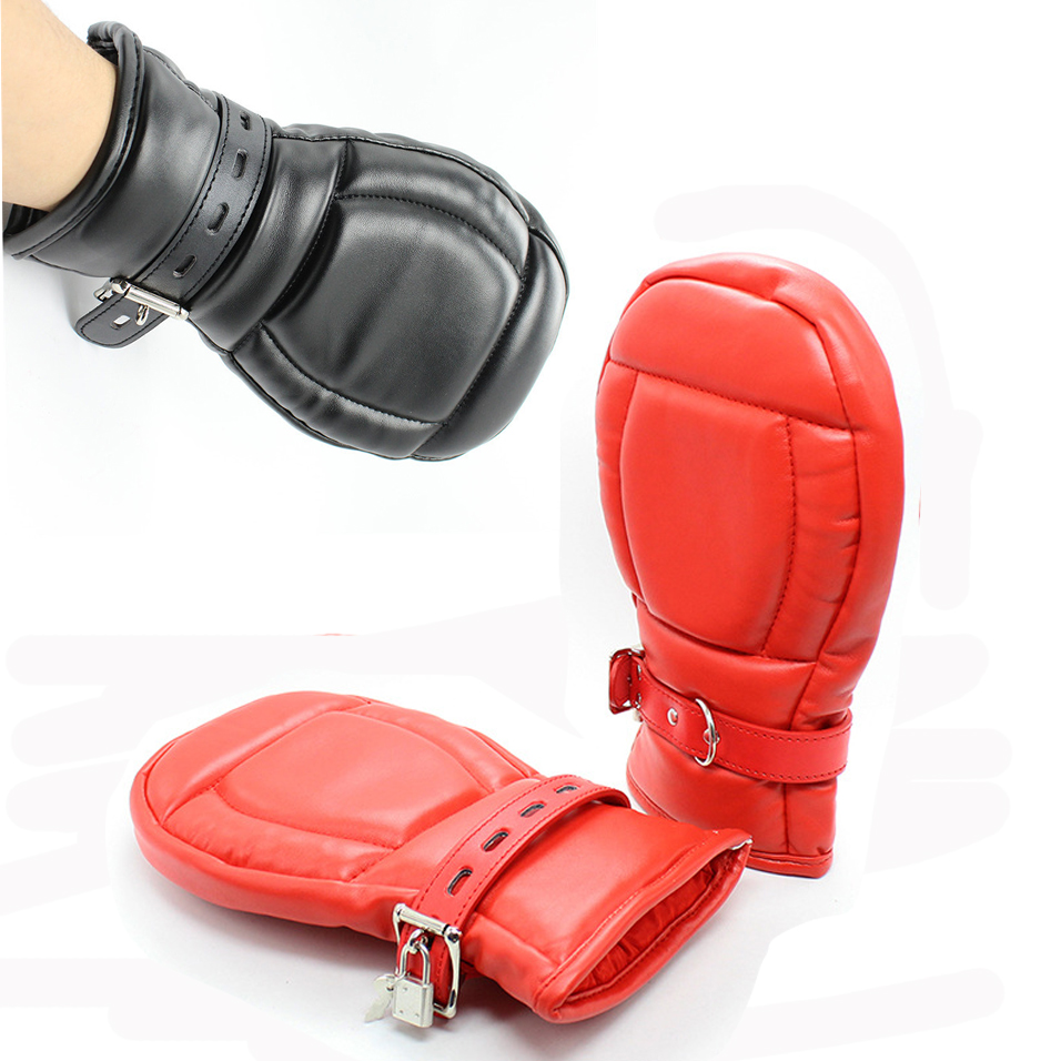 camaTech PU Leather Locking Goth Padded Mittens Soft Dog Paw Palm Gloves Bondage Restraints BDSM Aduld Game For Couple Role Play