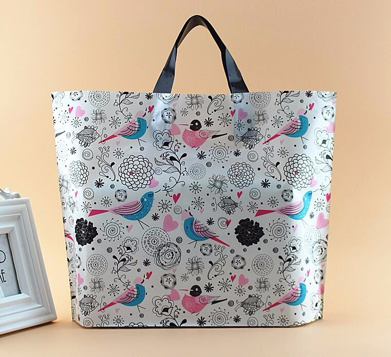 3 sizes Large handle Plastic gift bag,plastic shopping bag with handle, Boutique Gift Packaging Plastic Shopping Bag