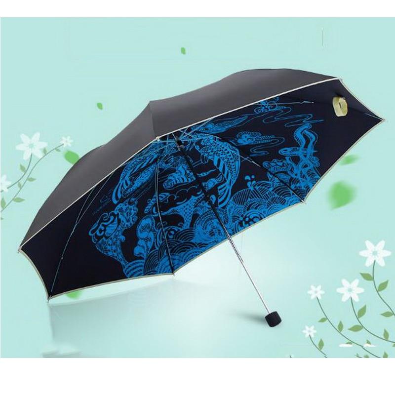 170343/Folding sun umbrella /2017 New Novelty Middle <font><b>Finger</b></font> Design Black Umbrella Cool Fashion Impact Umbrella 3 Fold