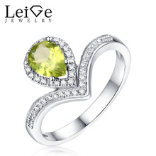 Leige Jewelry Natural Peridot Ring August Birthstone Tear Cut Sterling 925 Silver Wedding Rings for Women Fine Gemstone