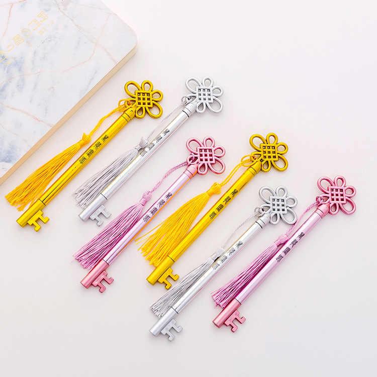 1Pcs Nieuwe Paleis Sleutel Kwastje Hanger Vintage Nieuwigheid Nieuwe Creatieve Pen Gel Pen Kantoor School Gift Briefpapier Pen