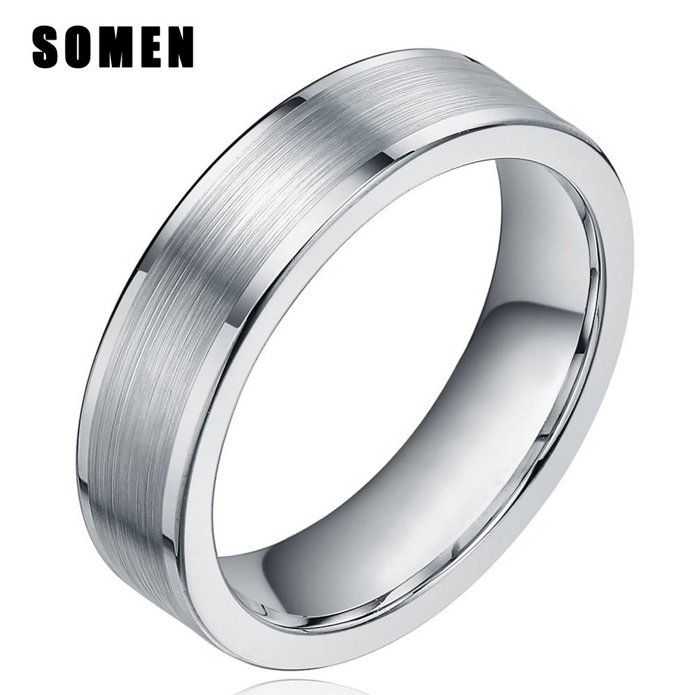 SOMEN 6mm Silver Black Tungsten Carbide Rings Women Flat Polished Brushed Finish Wedding Band Men Engagement Ring Female Jewelry